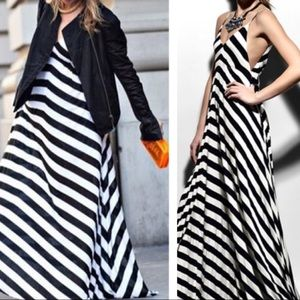 A.L.C. Chevron Striped Navy & White Maxi Dress Sm